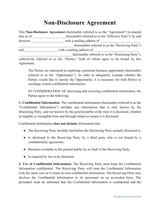 Insert how many days for a notice) prior written notice. Non Disclosure Agreement Template Download Printable Pdf Templateroller