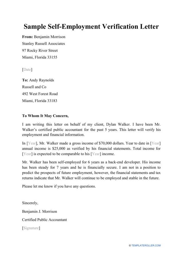 Sample Self-employment Verification Letter Download Printable PDF