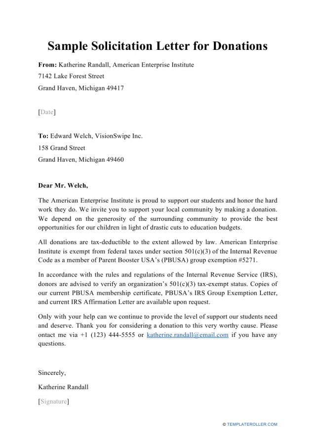 Sample Solicitation Letter for Donations Download Printable PDF