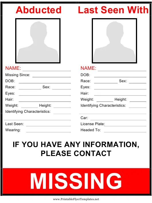 abducted missing person poster template