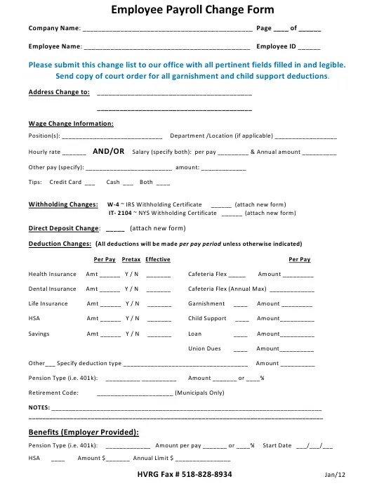 This employee complaint form template includes company name, name of the employee, date of the complaint, supervisor's name, description the details of the complaint, additional comments, supervisor's comments, signature. Payroll Change Form Templates Pdf Download Fill And Print For Free Templateroller