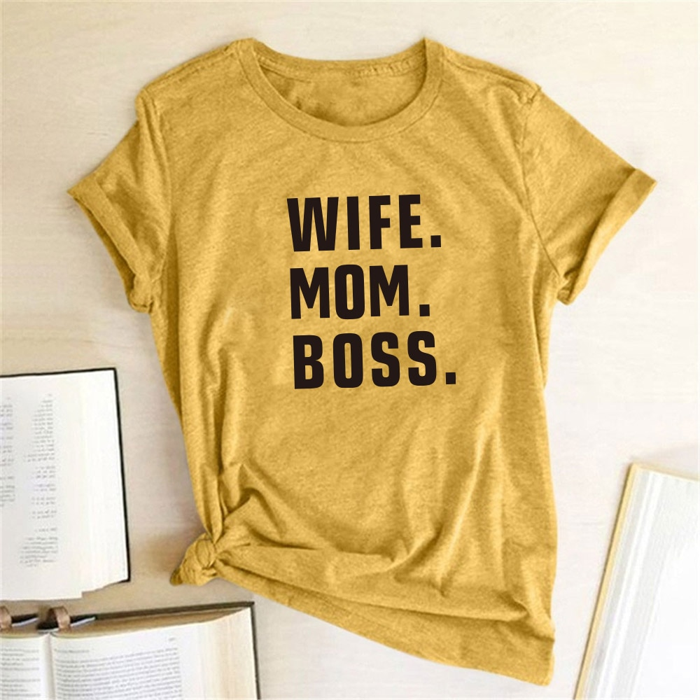 2020 Mother's Day Women T Shirt WIFE MOM BOSS Letters Print Tshirt Cotton Casual Funny Tees Shirt Female for MOM Gift Top Tee