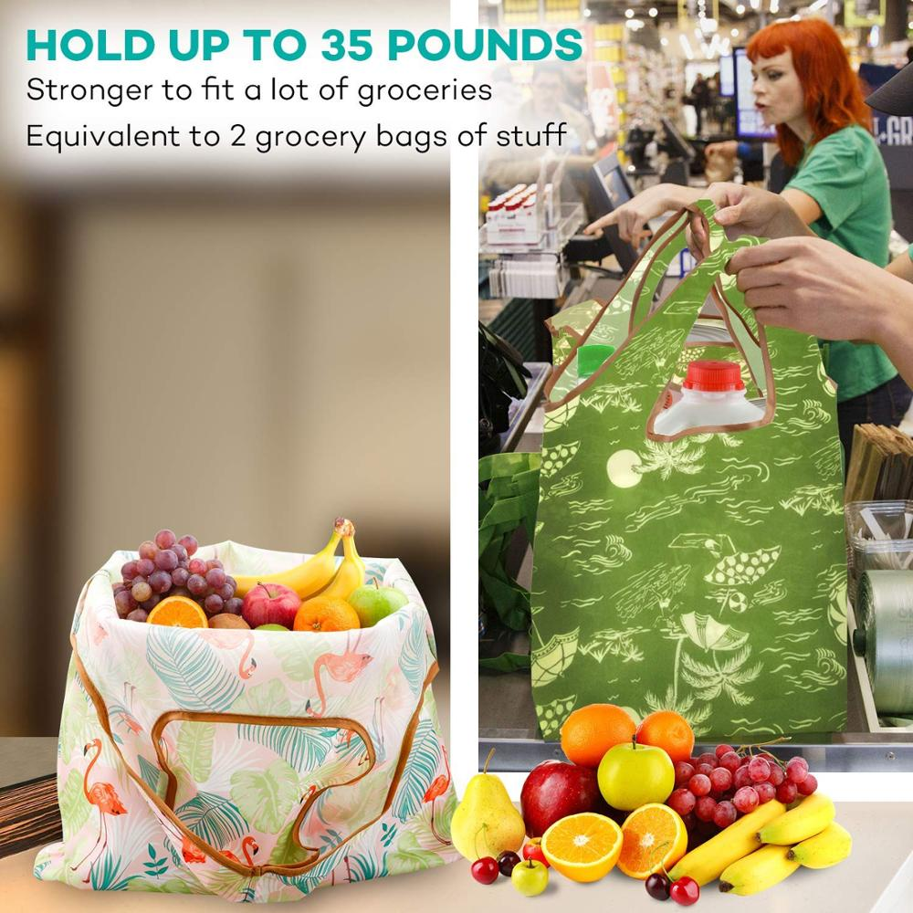 Fashion Printing Foldable Eco-Friendly Shopping Bag Tote Folding Pouch Handbags Convenient Large-capacity for Travel Grocery Bag