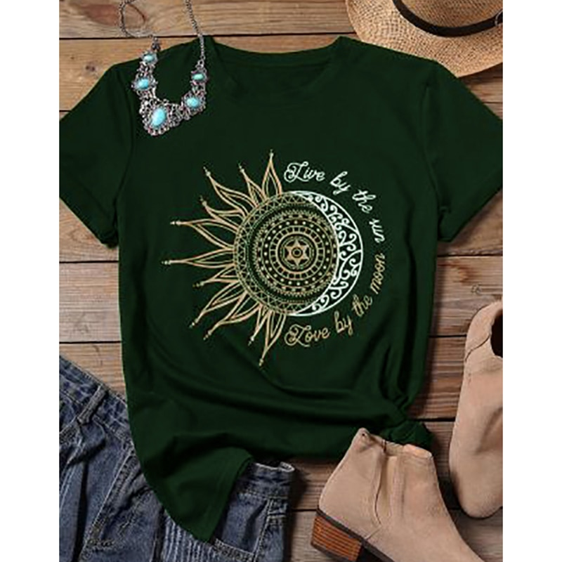 2020 women casual fashion t-shirt letter sun moon print loose o-neck short sleeve elastic stretched tshirt summer tops new