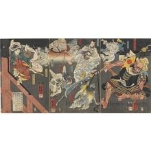Utagawa Kuniyoshi: Ushiwaka (Yoshitsune) and Goblins (Tengu) Attack Benkei on Gojö Bridge - Honolulu Museum of Art