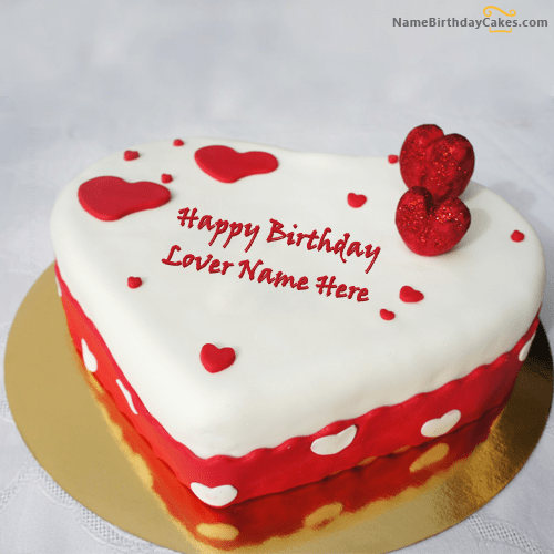 Write Name On Ice Heart Birthday Cake For Lover Happy Birthday