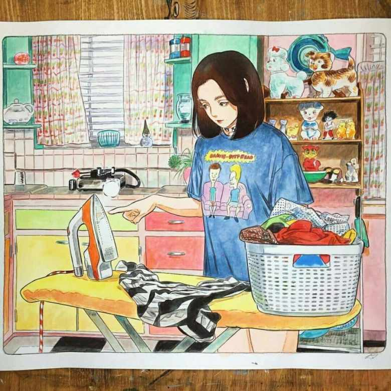 girl, illustration, and girl is ironing -kuva