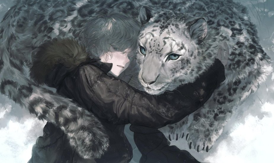 Image result for anime boy with snow leopard