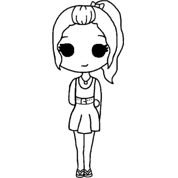 chibi template | We Heart It | black and white, colour in ...