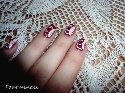 One stroke fleur rouge et blanche