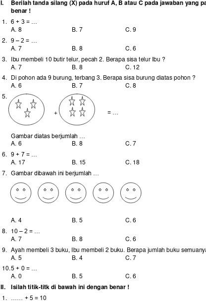 Matematika Dasar Sd Kelas 1