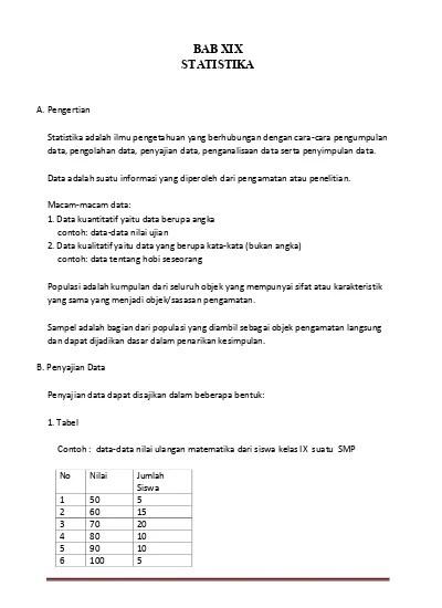 Matematika kelas / semester : Rangkuman Matematika Kelas 7 8 Dan 9 Smp Bab Xix Statistika