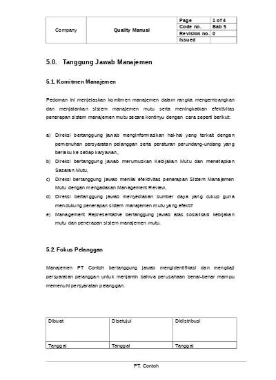Pastikan terdapat layanan purna jual. Quality Manual Pedoman Mutu Qm05