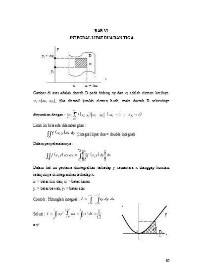 Integral fungsi dua variabel f(x,y) terhadap suatu luasan a(r) dinamakan integral. Bab 8 Integral Lipat Dua