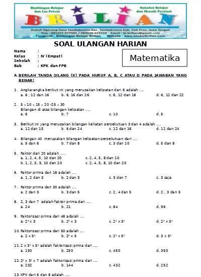 jawaban soal matematika kelas 7 ayo kita berlatih 5 2 nomor 1 5. Soal Kelas 4 Mtk Pelajaran Kpk N Fpb