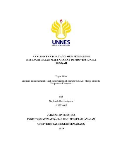 Pembukaan program studi d3 statistika terapan dan komputasi berdasarkan keputusan rektor universitas negeri semarang nomor: Analisis Faktor Yang Mempengaruhi Kesejahteraan Masyarakat Di Provinsi Jawa Tengah