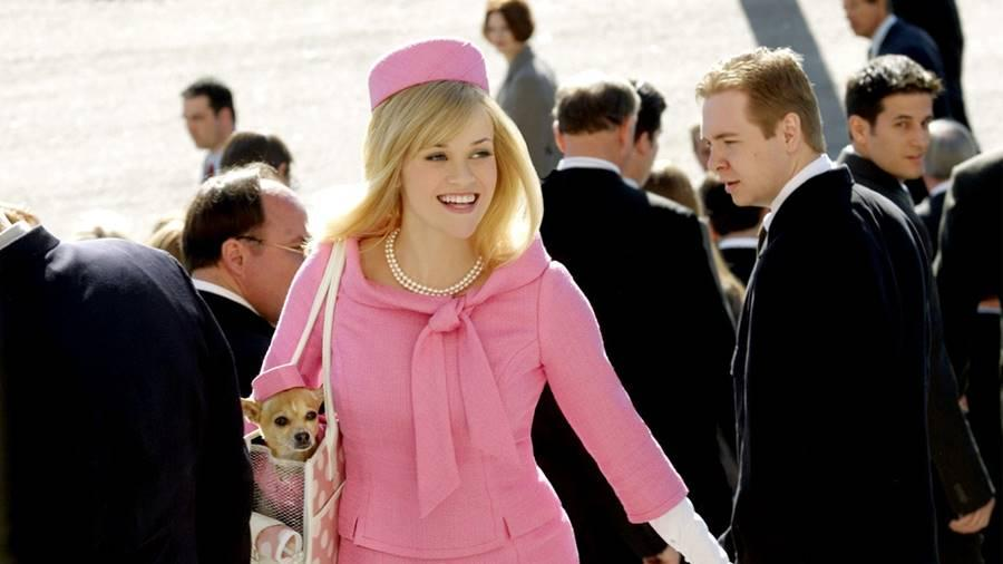 Elle Woods in a pink outfit.