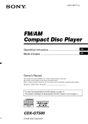 Sony CDXGT500  Fmam Compact Disc Player Manuals