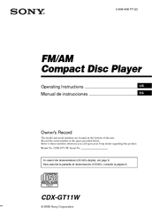 Sony CDX GT11W  Radio  CD Player Manuals