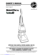 Hoover F5914 900 Steamvac With Clean Surge Owner S Manual 63 Pages Spinscrub Series