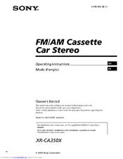 Sony XRCA350X  Fmam Cassette Car Stereo Manuals