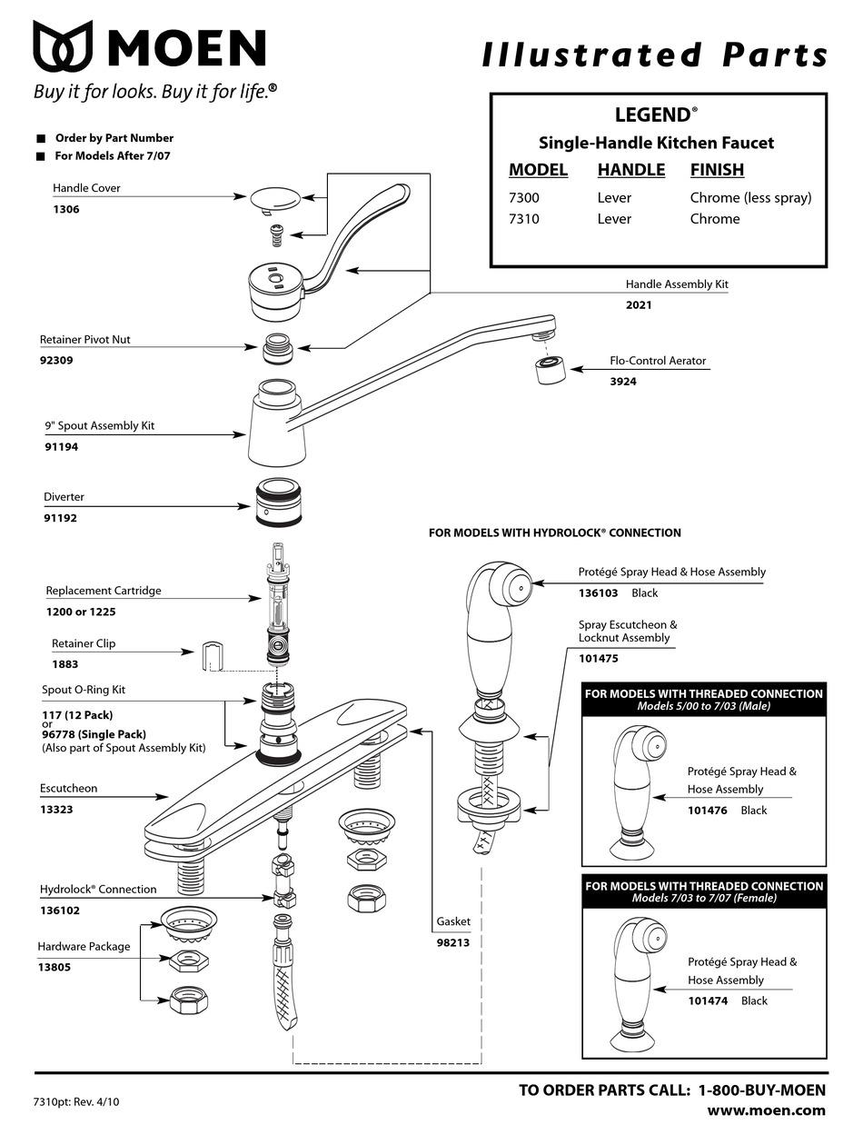moen legend 7300 illustrated parts list