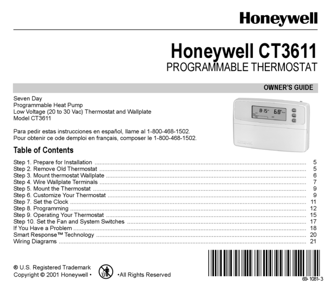 honeywell ct3611 owner's manual pdf download  manualslib