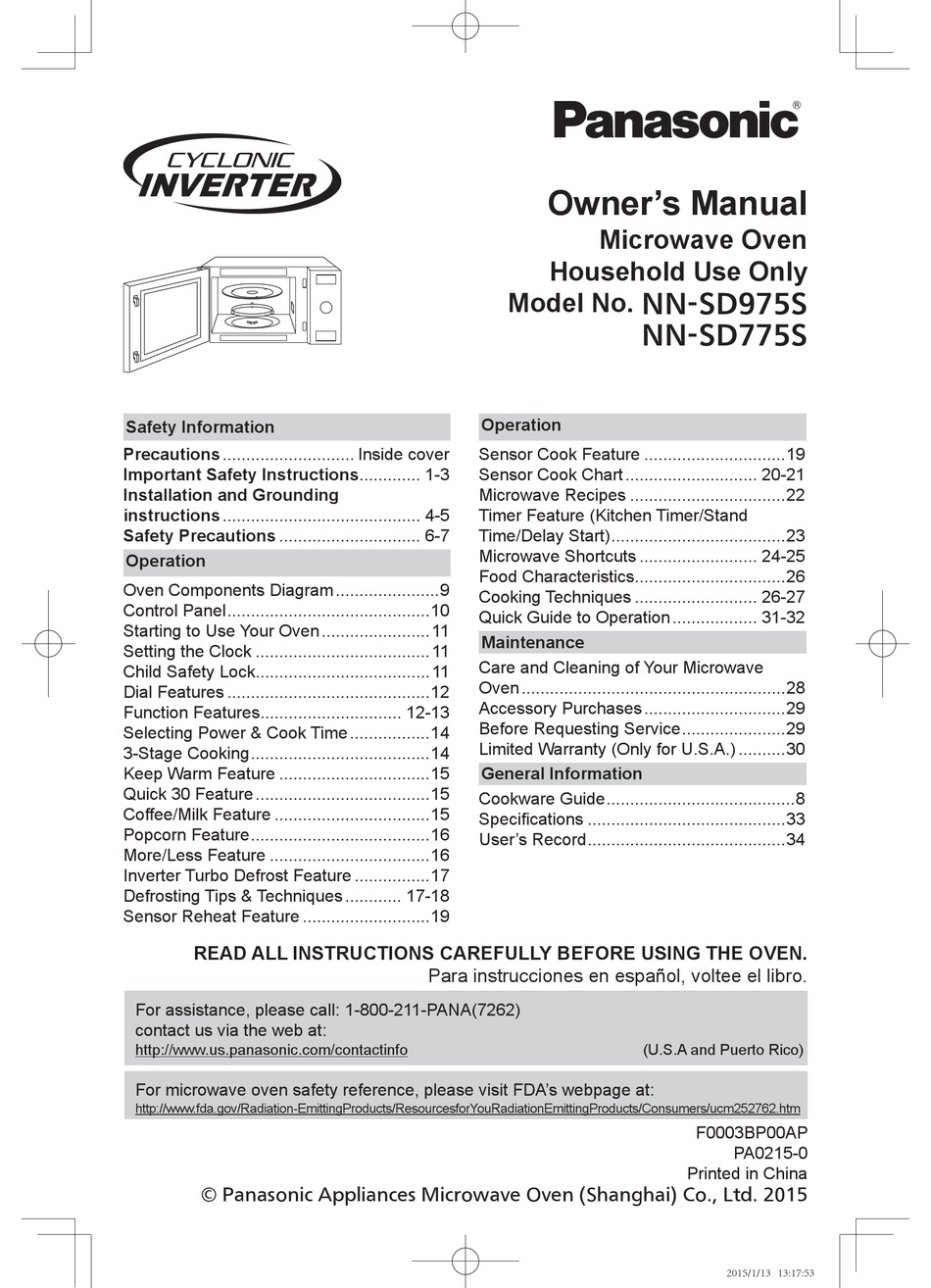panasonic nn sd975s owner s manual pdf