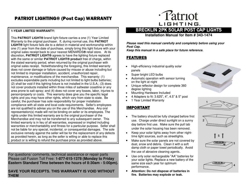 patriot lighting 343 1474 installation
