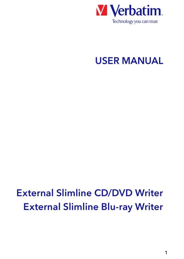 VERBATIM EXTERNAL SLIMLINE CD/DVD WRITER USER MANUAL Pdf Download