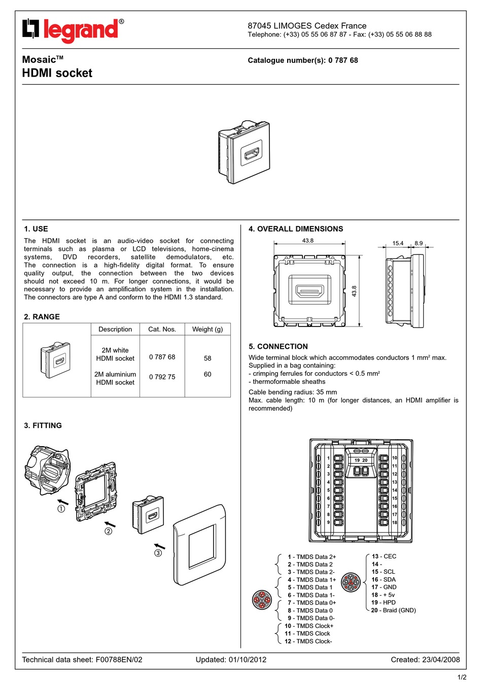 legrand mosaic technical data sheet pdf
