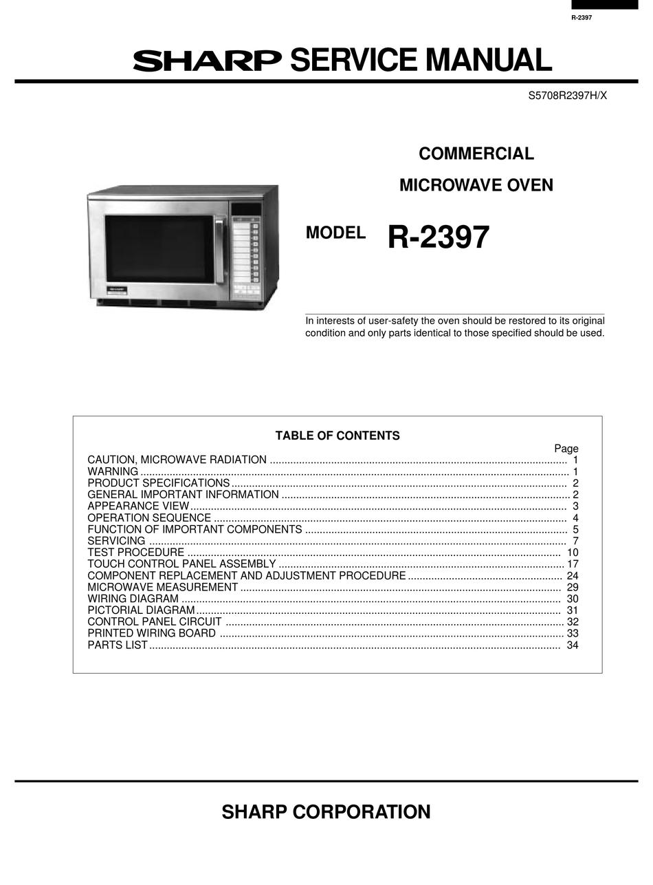 sharp r 2397 service manual pdf
