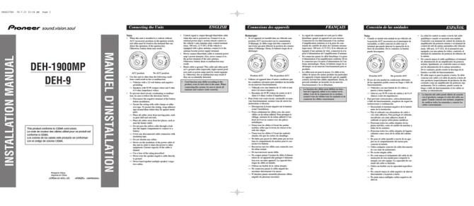 pioneer deh1900mp installation manual pdf download  manualslib