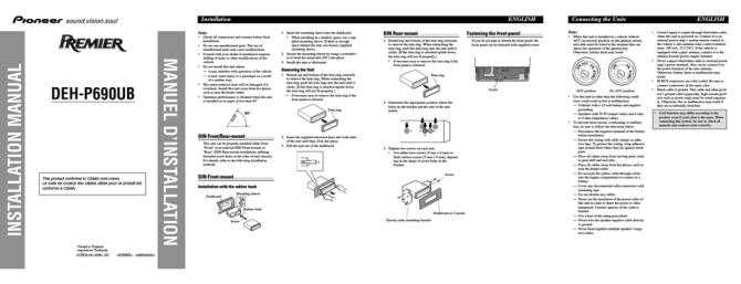 pioneer dehp690ub installation manual pdf download  manualslib