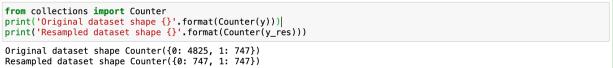 random under sampler output