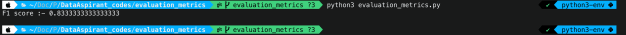 F1 score output