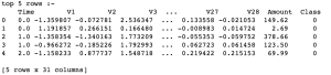 credit card data observations