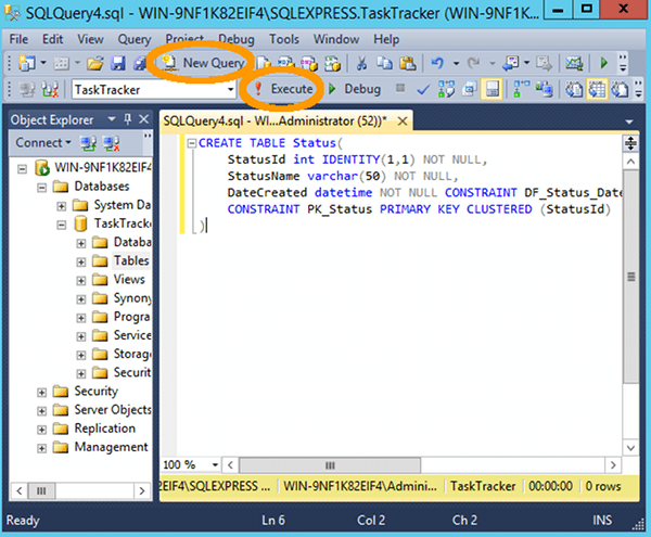 Creating table query sql for Sql table design query