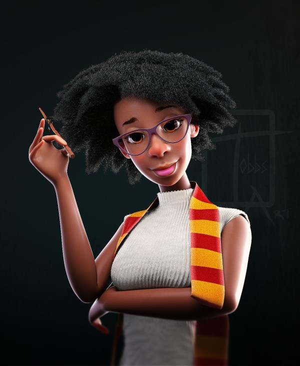3D sculpt of a black girl in Gryffindor House in Harry Potter by Bertil Toby Svanekiaer
