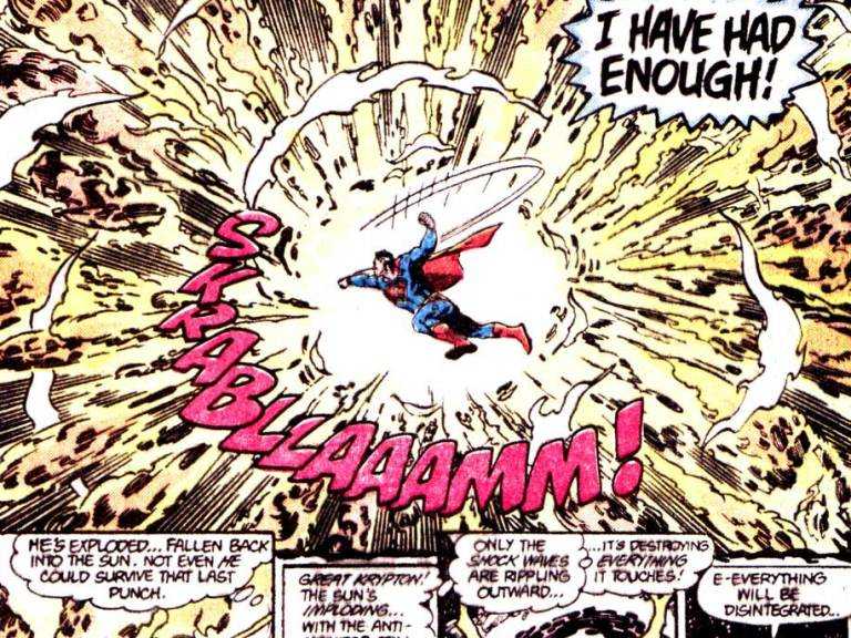 In 'Crisis On Infinite Earths #12', Earth-2 Superman having lost everything to Anti-Monitor, destroys him with a punch in the anti-matter universe that ends the threat!