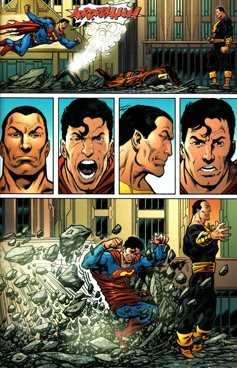 """Superman is not holding back. He attacks with """"a punch that would have split the moon in half."""""""