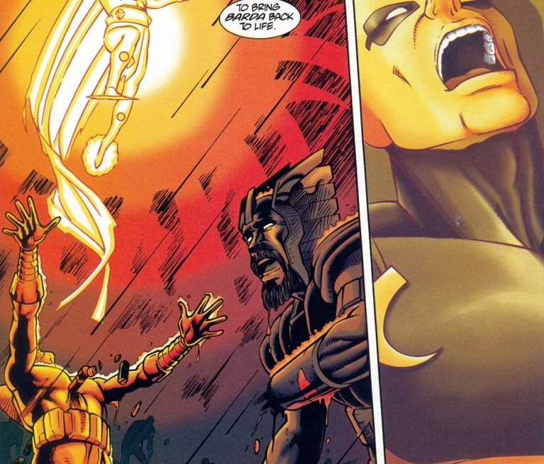 Mr. Miracle uses the Alpha Effect in order to resurrect the New Gods and Big Barda killed by Steppenwolf in 'Mister Miracle' (1996) #4.