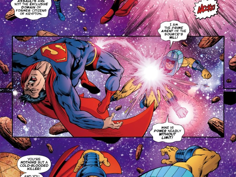"""In 'Death Of The New Gods #7' (2008), Infinity Man """"The Prime Agent of the Source's Will"""" punches Superman!"""