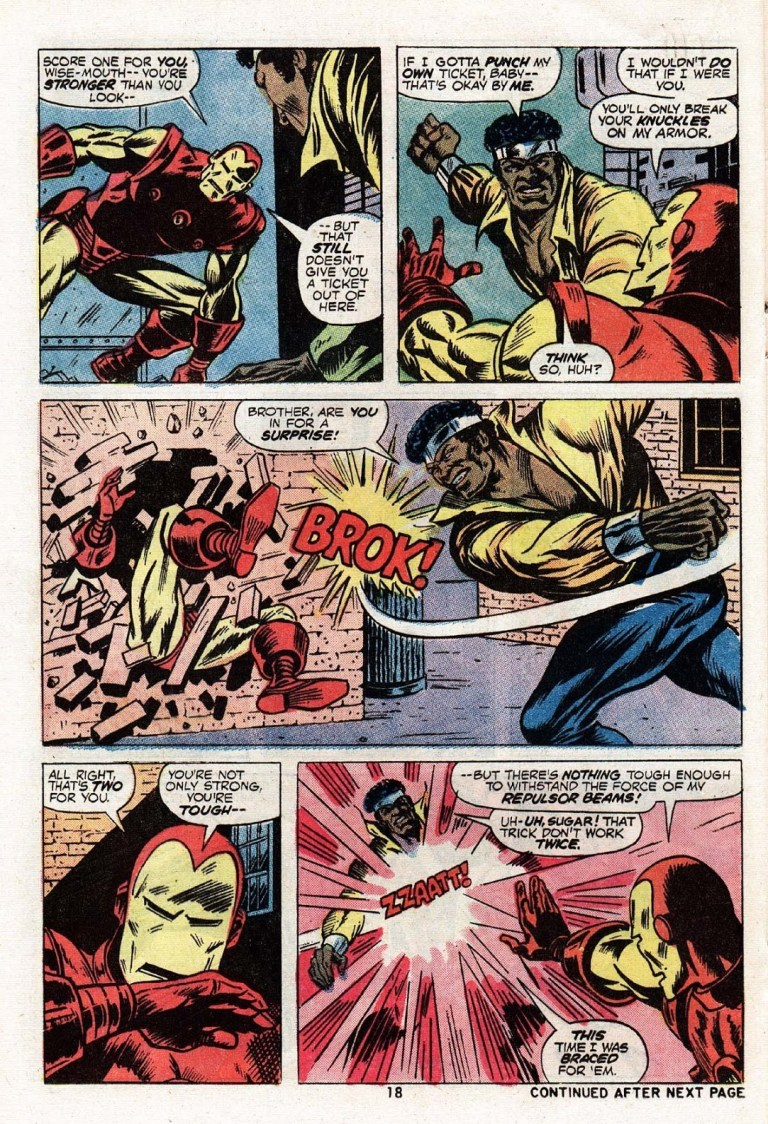 In 'Power Man #17',  Power Man performs a super-strength feat as he punches Iron Man through a brick wall.