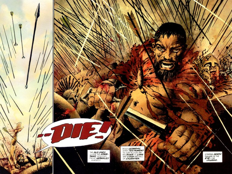 """In '300' (1998), assailed by arrows and the death of his warriors, King Leonidas hurls his battle cry at Xerxes """"Die"""", hurling an arrow at the Persian Emperor."""