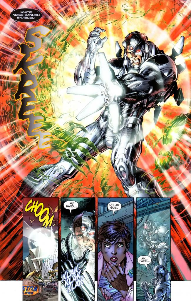 In 'Justice League #4' (2011), Cyborg vaporizes a parademon with a White Noise Cannon.