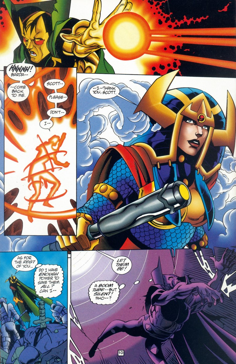 In 'Mister Miracle' (1996) #4, Mister Miracle resurrects Big Barda from the clutches of Hadis with the Alpha Effect.