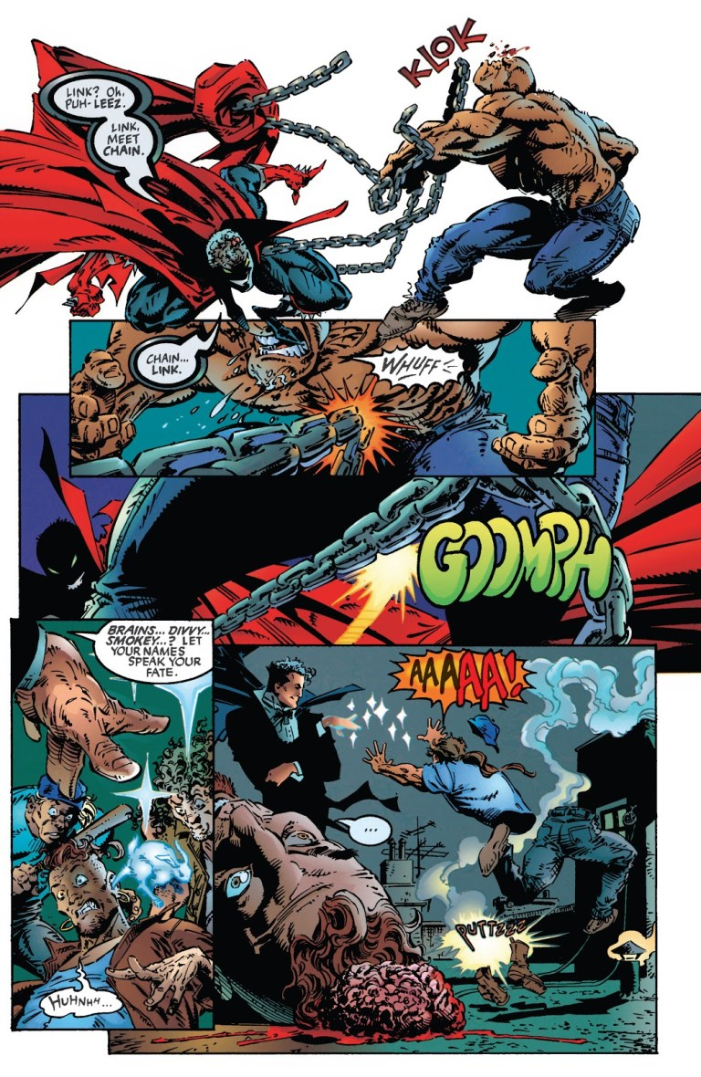 In 'Spawn (1994) #19, Spawn tests his necroplasm magic in a fight with street thugs, until Harry Houdini puts an end to the fight.