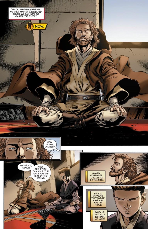 In 'Star Wars Age Of Republic Obi-Wan Kenobi ' (2019) #1, Obi-Wan Kenobi teaches Anakin Skywalker on meditation.