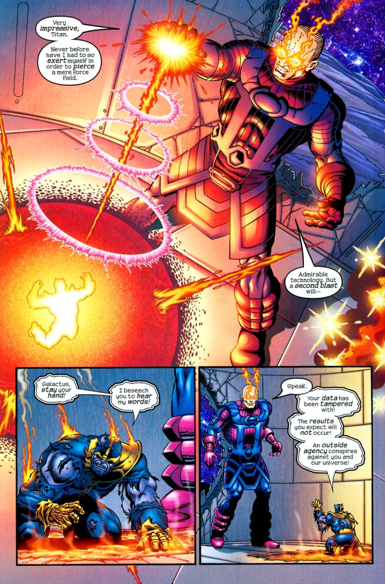 In 'Thanos' (2004) #5, Thanos' force field withstands a blast from Galactus.